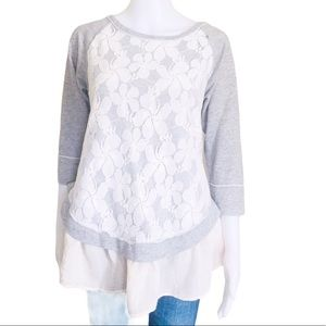 AREVE(Anthropologie) Boho Lace Flutter Sweater S